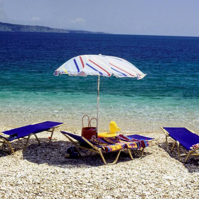 """Beach scene, Kalami, Corfu, Greece"" stock image"