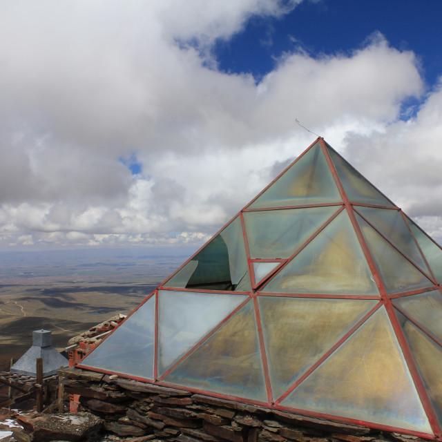 """""""Pyramid at the base of Chacaltaya"""" stock image"""