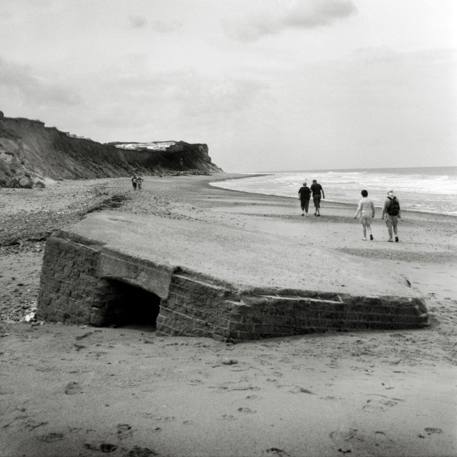 """WW2 pillbox on the beach near Cromer"" stock image"