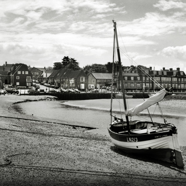 """The harbour at Blakeney, Norfolk"" stock image"