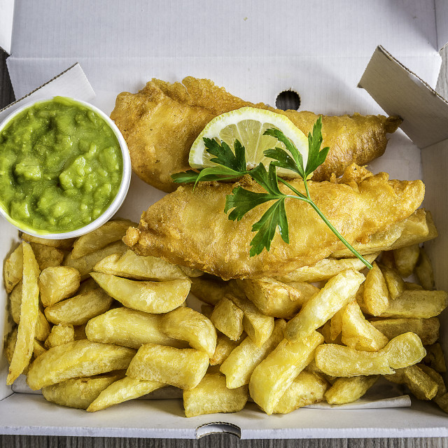 """Fish and chip meal in the UK"" stock image"