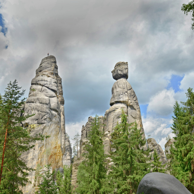 """""""View of the sandstone Pillars. Teplice-Adrspach Rock Town. Rocky town in Adrspach - National Nature Reserve in the Czech Republic, Europe"""" stock image"""