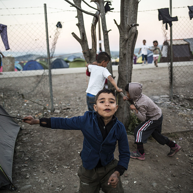 """Children play around a tree at the Idomeni makeshift refugee camp of Idomeni."" stock image"