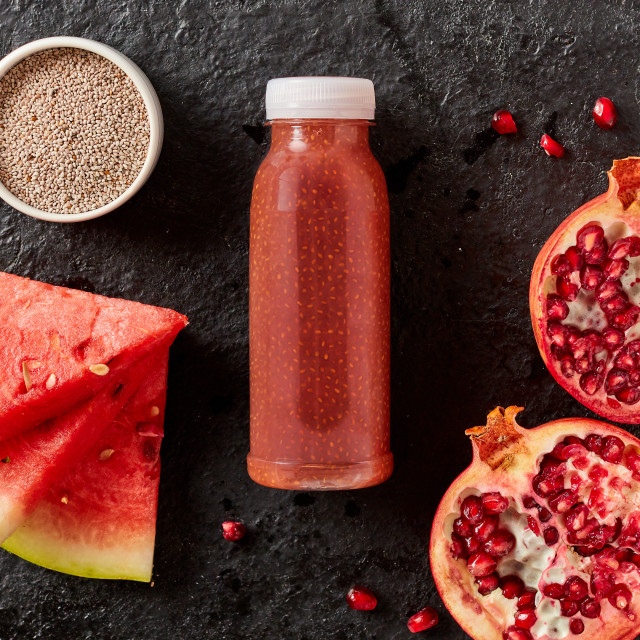 """Healthy pomegranate and watermelon smoothie"" stock image"