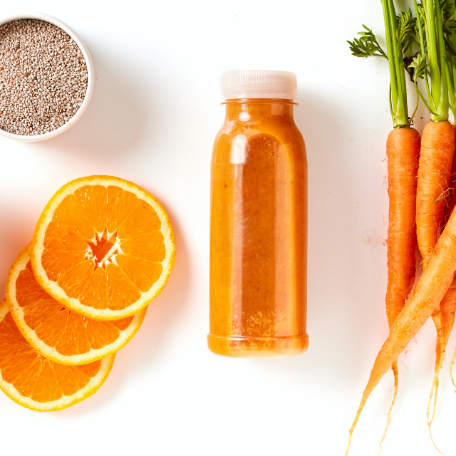 """Healthy carrot, mango and orange smoothie"" stock image"