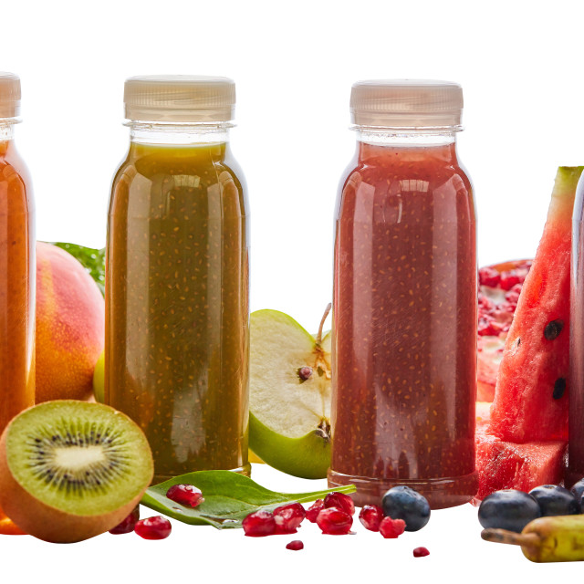"""Selection of different energising fruit smoothies"" stock image"