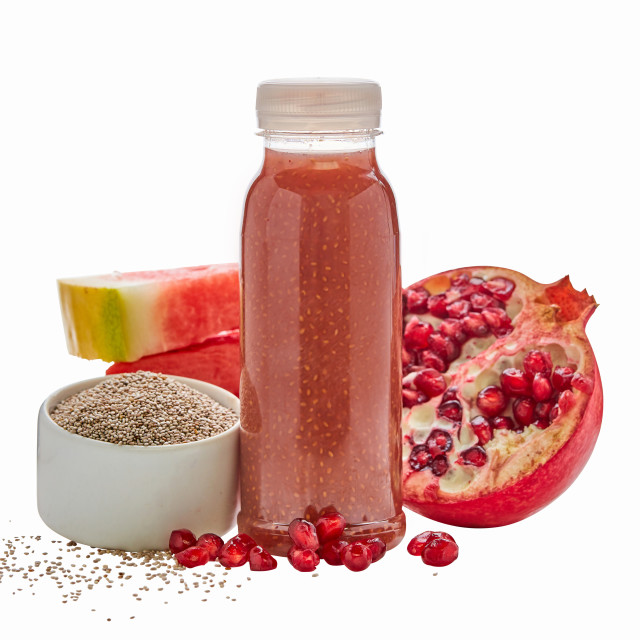 """Healthy fruit smoothie with pomegranate"" stock image"