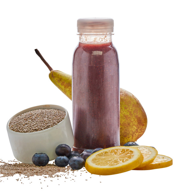 """Blueberry smoothie still life with chia seeds"" stock image"