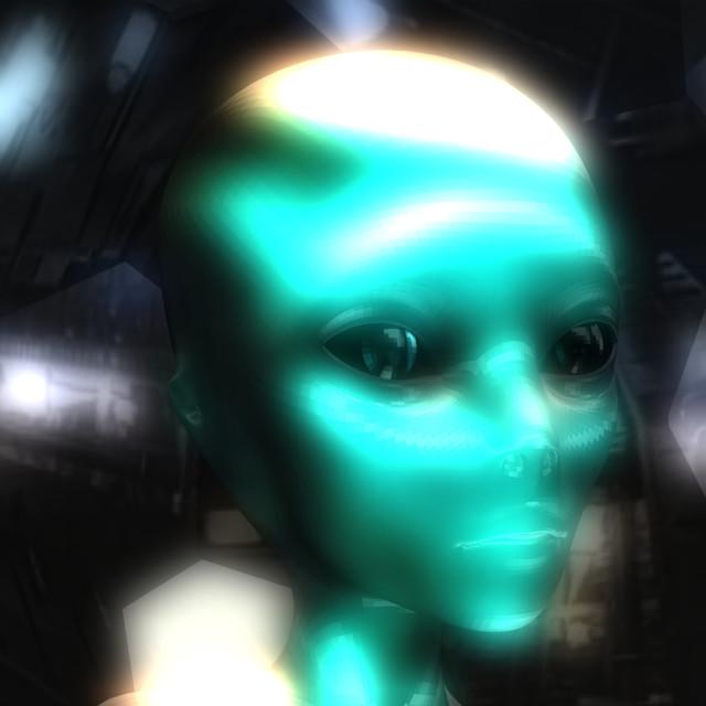 """3D Illustration of an Alien Head"" stock image"