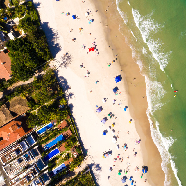 """Top View of Juquehy Beach in Sao Paulo, Brazil"" stock image"