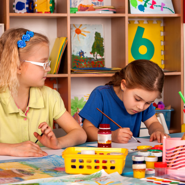 """""""Small students children painting in art school class."""" stock image"""