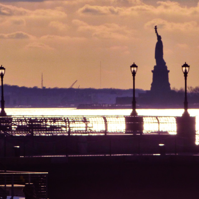 """Statue of Liberty silhouette"" stock image"