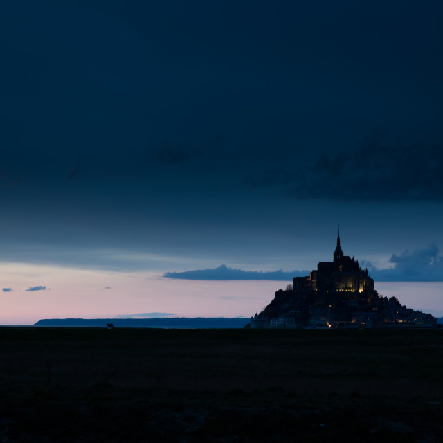 """Mont St Michel at night"" stock image"