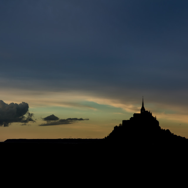 """""""Silhouette of Mont St Michel"""" stock image"""