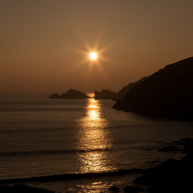 """Sunset at Newgale"" stock image"