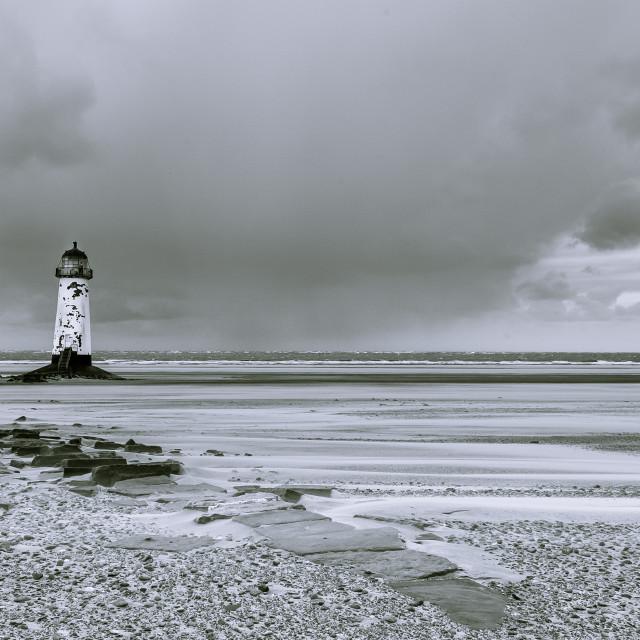 """Lighthouse on Talacre beach"" stock image"