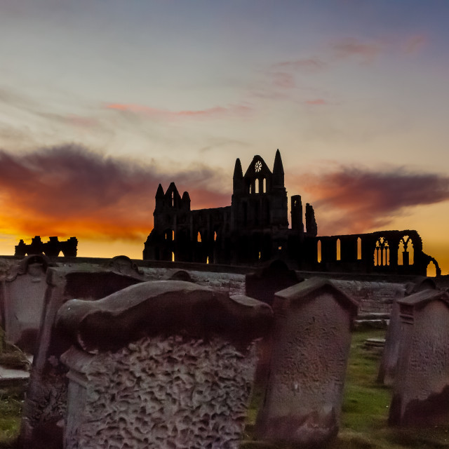 """""""Whitby Abbey at sunrise"""" stock image"""