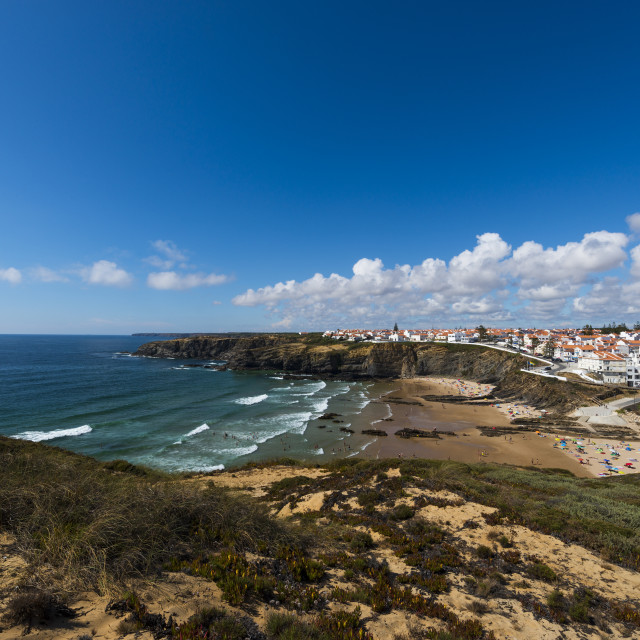 """The fishing village of Zambujeira do Mar and its beach in the Vincentine Coast, Alentejo, Portugal; Concept for travel in Portugal and summer vacations"" stock image"