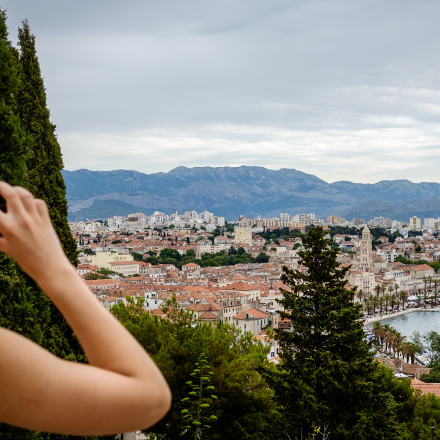 """Taking a photo of Split, Croatia"" stock image"