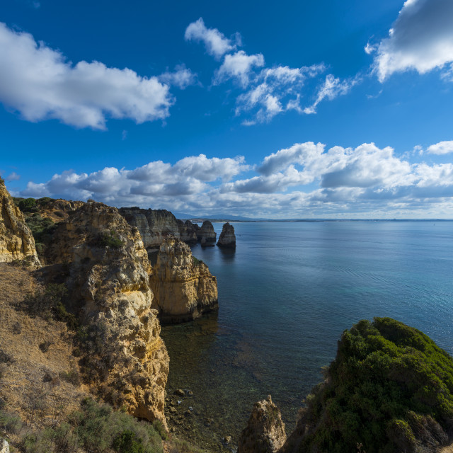 """""""View of the sandstone cliffs at the Ponta da Piedade and the Lagos bay in Algarve, Portugal; Concept for travel in Portugal and Algarve"""" stock image"""