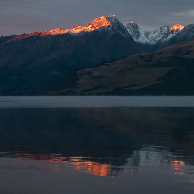 """Sunrise at The Remarkables, Lake Wakatipu"" stock image"