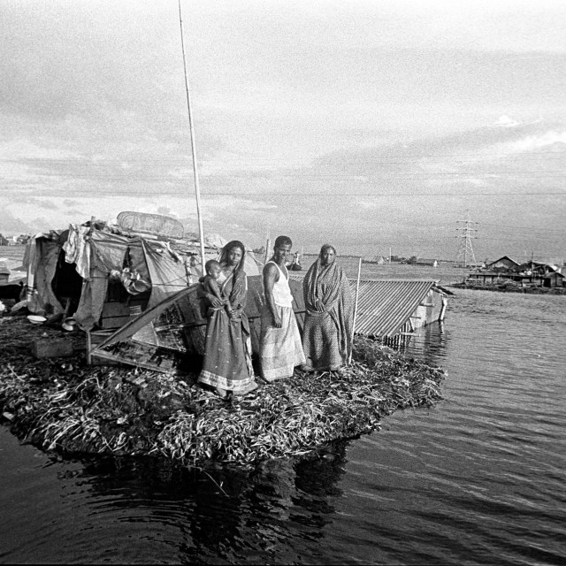 """A family from flood affected area living on a raft made of water hyacinth...."" stock image"