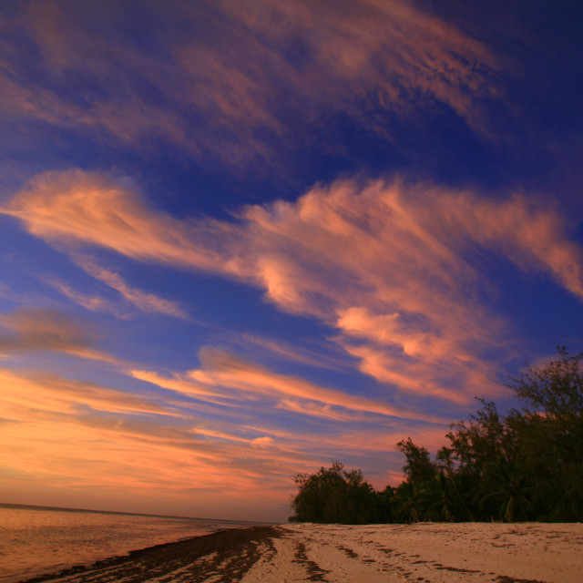 """sunset and colourful clouds on Aldabra Island in Seychelles. (12-12-2006)"" stock image"