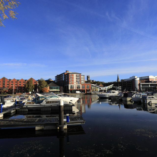"""The Brayford Waterfront; Lincoln Marina; Lincoln City, Lincolnshire County,..."" stock image"