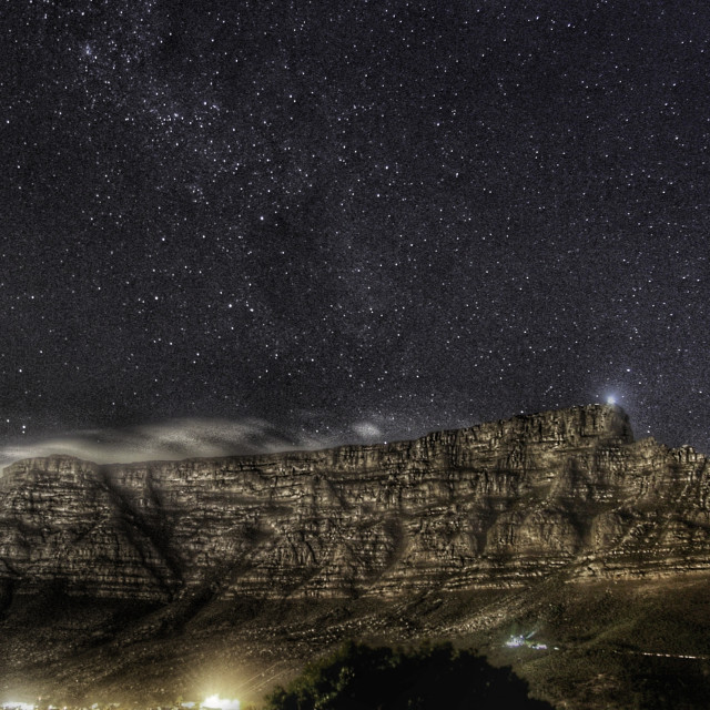 """Table Mountain at Night"" stock image"