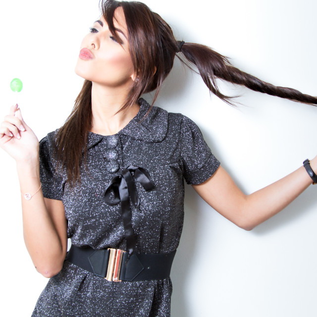 """cute girl with a lollipop"" stock image"