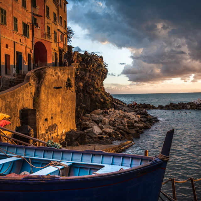 """Sunset Cinque Terre Italy"" stock image"