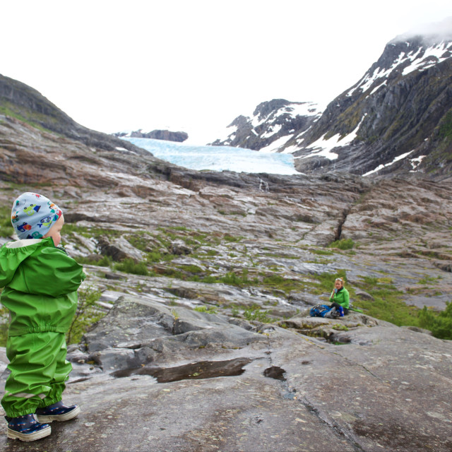 """Family heading for a glacier Svartisen"" stock image"