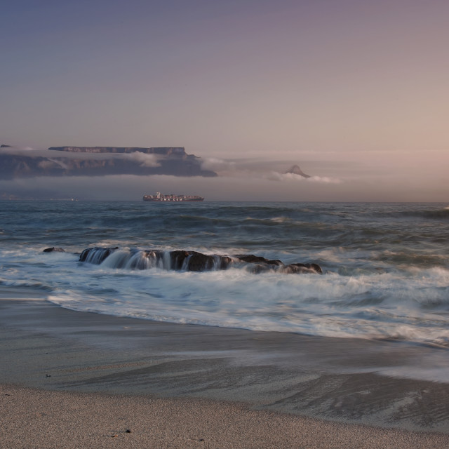 """Table Bay at sunset"" stock image"