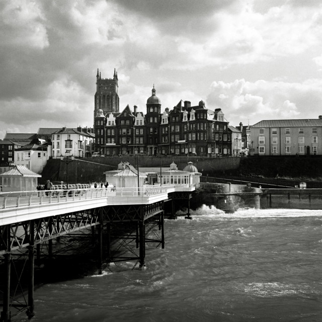 """Looking back to Cromer from the pier"" stock image"