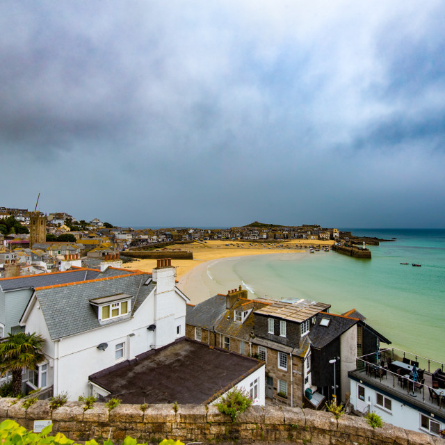 """Moody skies at St Ives"" stock image"