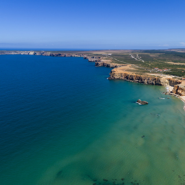 """""""Aerial view of the Tonel Beach (Praia do Tonel) with the Saint Vincent Cape (Cabo de Sao Vincente) on the background, in Algarve, Portugal"""" stock image"""