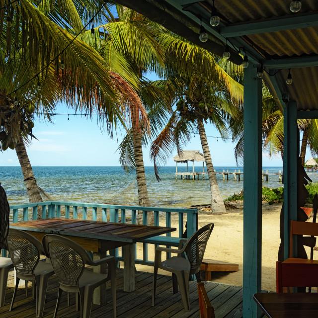 """Beach bar in Belize"" stock image"