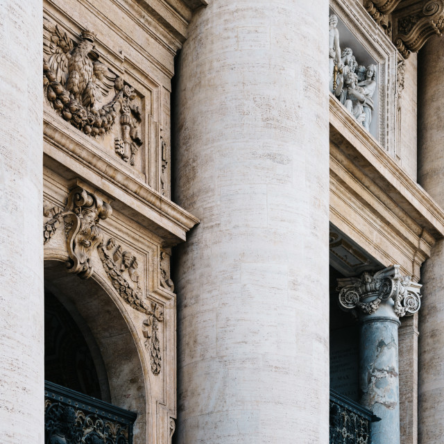 """""""Detail of facade of the Basilica of St Peter"""" stock image"""