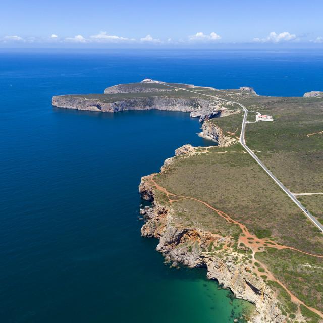 """Aerial view of the Cape Saint Vincent (Cabo de Sao Vincente), in Sagres, Algarve, Portugal"" stock image"