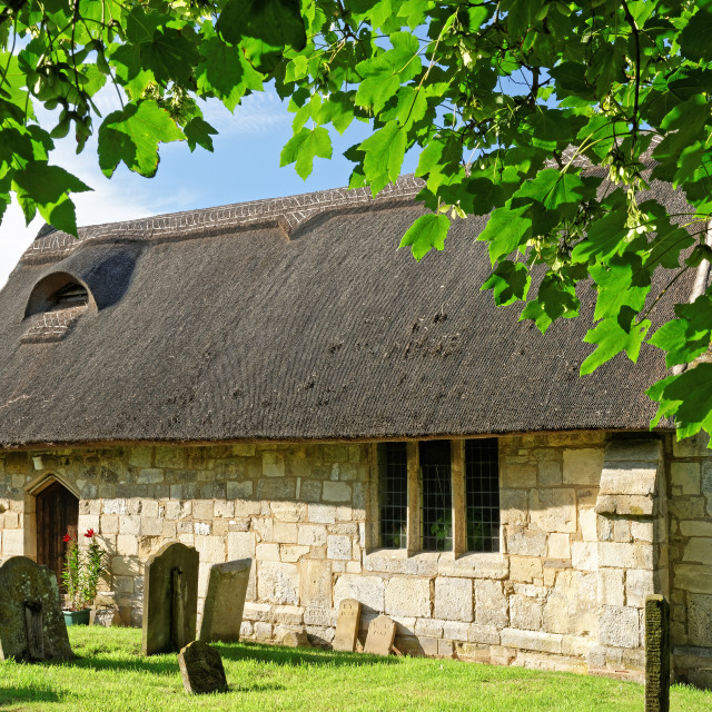 """""""Ancient Thatched Church in Lincolnshire,UK"""" stock image"""