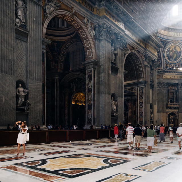 """""""People in the Interior of St Peters Cathedral"""" stock image"""