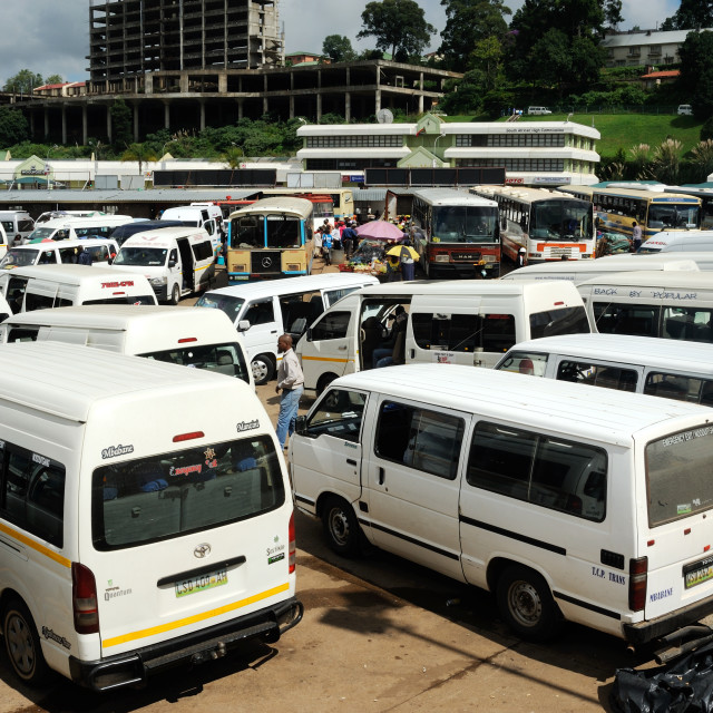 """Mbabane Swaziland Main bus and taxi rank"" stock image"