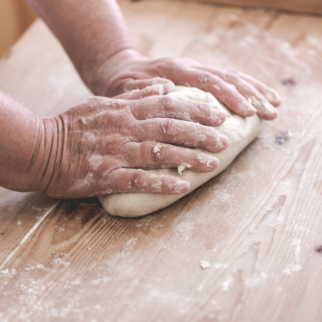 """Grand mother makes traditional dumplings"" stock image"