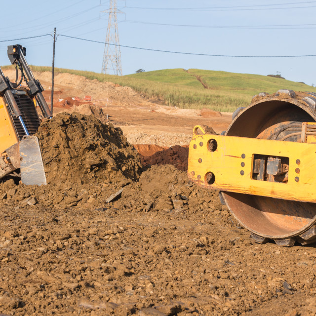 """Earthworks Dozer Compactor Machines"" stock image"