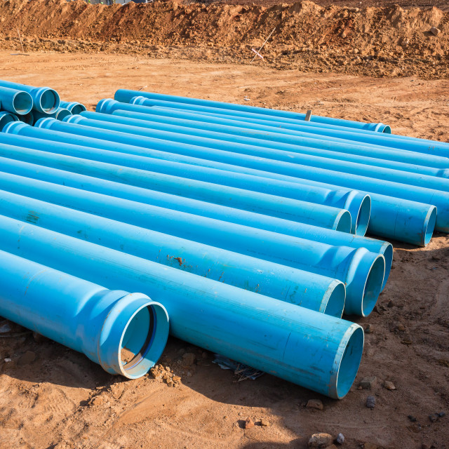 """Construction Blue Pipes"" stock image"