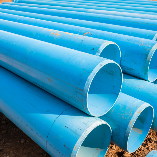 """""""Construction Blue Pipes"""" stock image"""