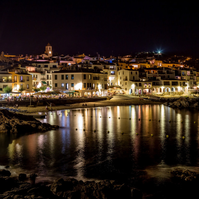 """""""At the night in Calella (small village in Spain)"""" stock image"""