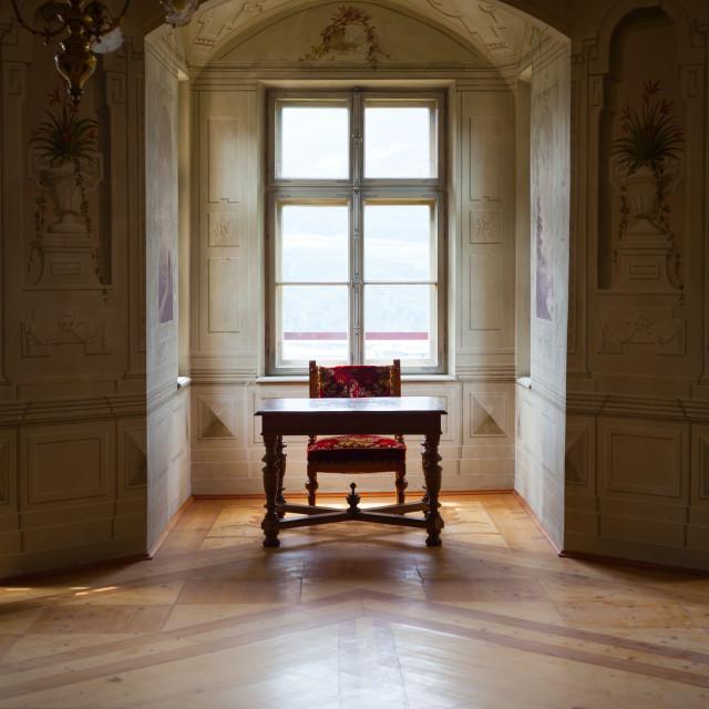 """GRESSONEY, ITALY - January 6th: Interior of Castle Savoia"" stock image"