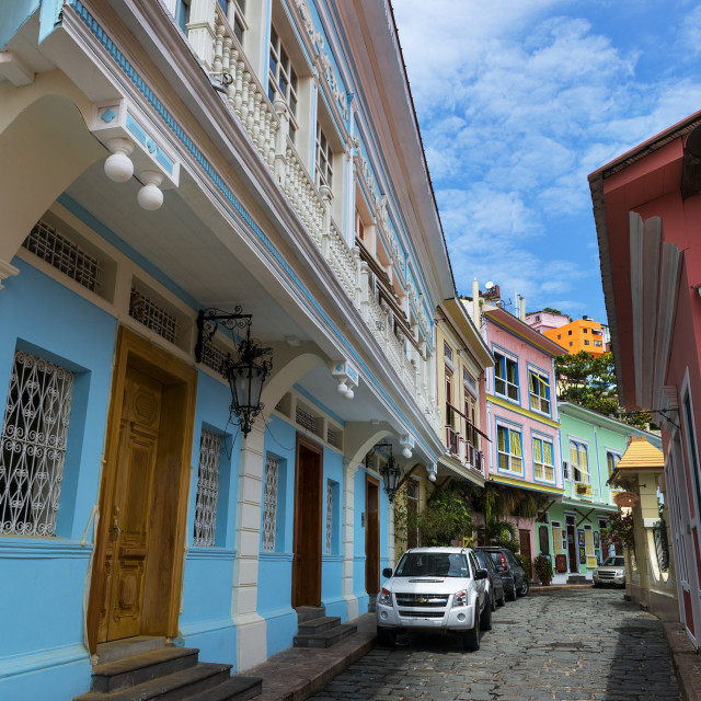 """Guayaquil, Ecuador - January 21, 2014: Colorful houses in the street of the Las Penas neighborhood in the city of Guayaquil in Ecuador, South America"" stock image"