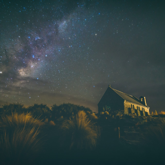 """Majestic Milky way at a Church"" stock image"
